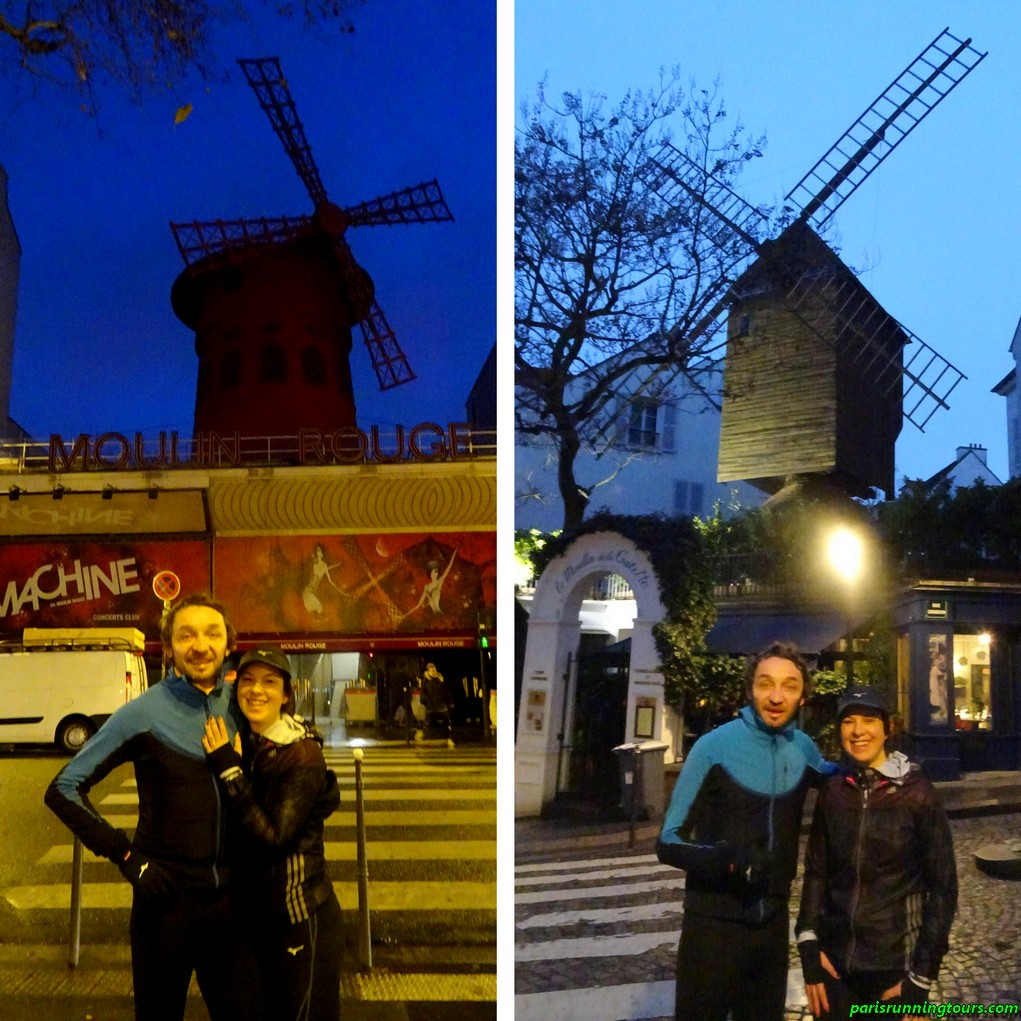 Moulin-Rouge and on the right, the Moulin de la Galette (here, the Radet)