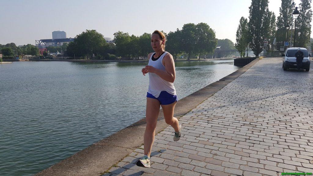 Running along a Parisian canal