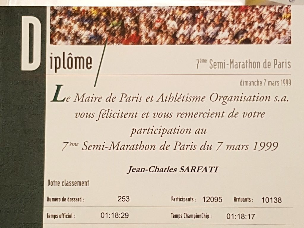 Half marathon of Paris 1999 diploma
