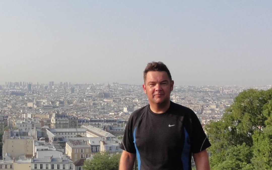 At the top of Paris with Bart after a sports ascent
