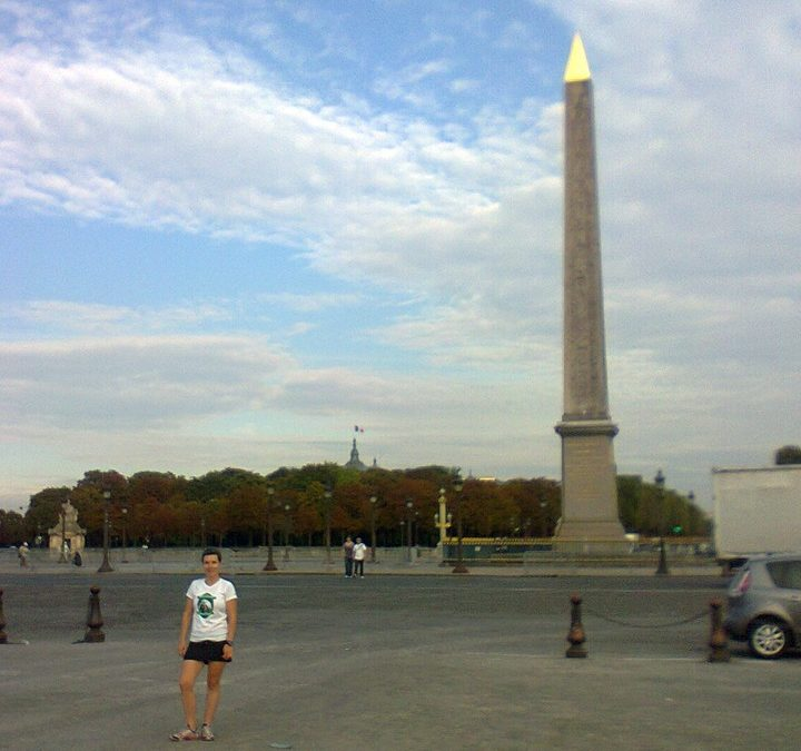 In front of the obelisk of La Concorde with Ewa