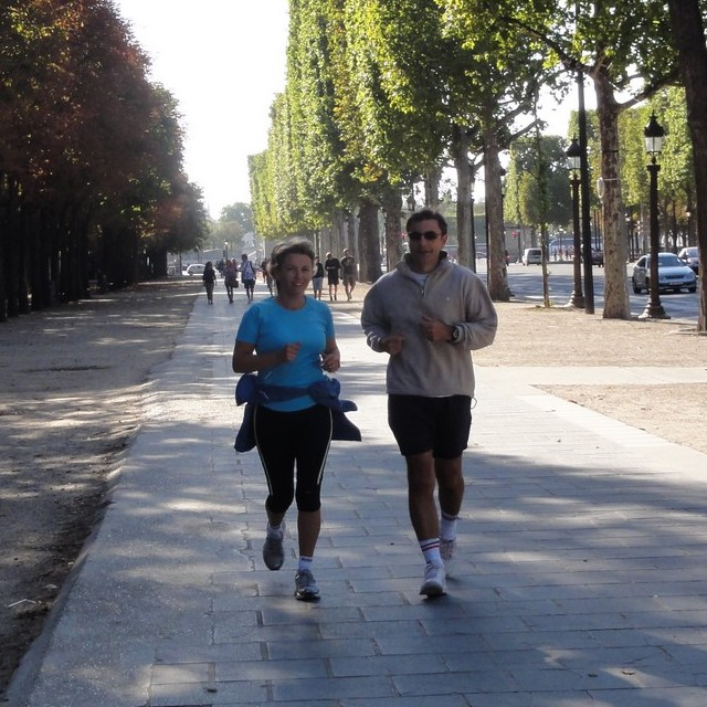 Running in the Champs-Elysées with Françoise and Benoît