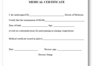 Mandatory medical certificate