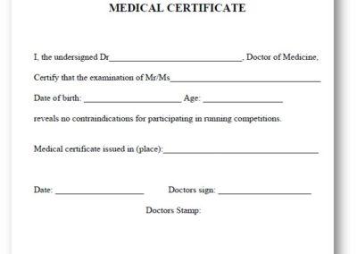 Mandatory medical certificate