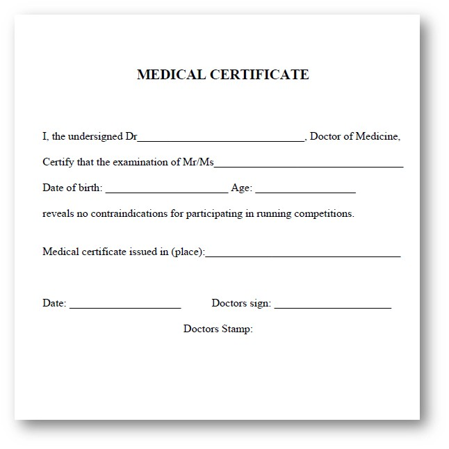 Mandatory Medical Certificate  Paris Running Tours English