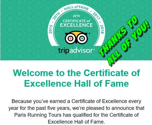 Certificate of Excellente Hall of Fame