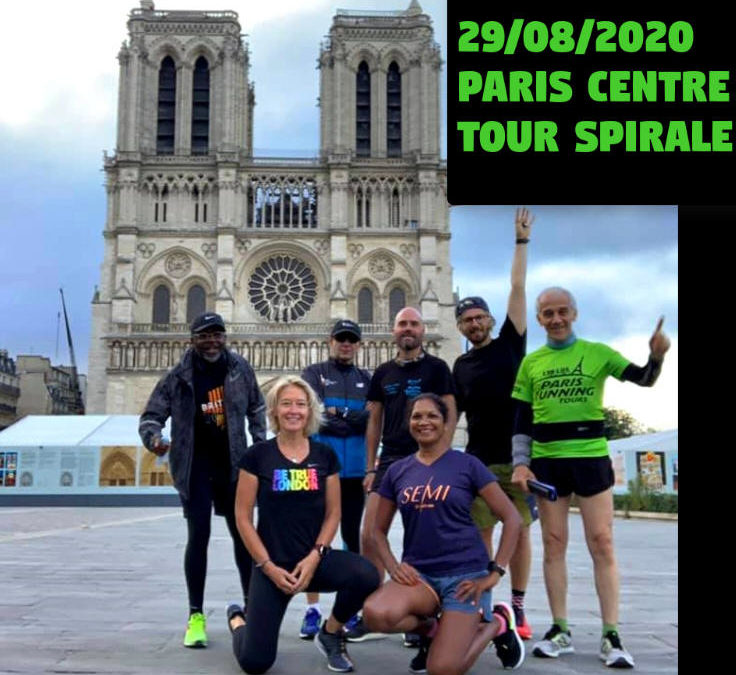 Running doing a spiral in the centre of Paris!